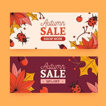 Tema de colección de banner de rebajas de otoño
