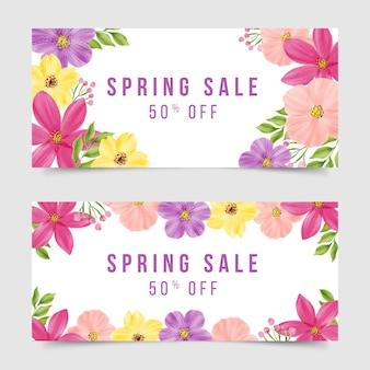 Tema de colección de banner de venta de primavera acuarela