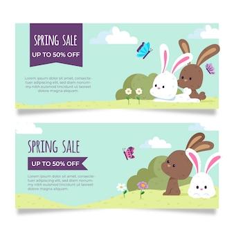 Tema de colección de banner de venta de primavera dibujado a mano