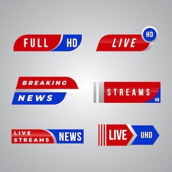 Tema de la colección de banners de noticias en vivo
