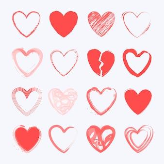 Tema de colección de corazones dibujados a mano