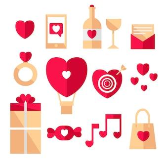 Tema de colección de elementos de día de san valentín de diseño plano