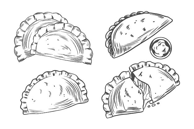Tema de colección de empanada monocromo