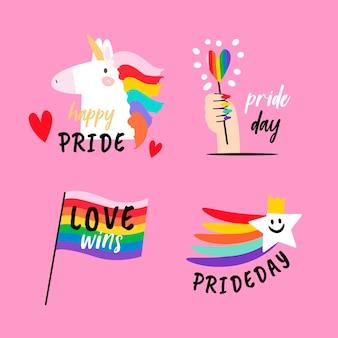Tema de la colección de etiquetas del día del orgullo