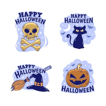 Tema de colección de etiquetas de halloween dibujado a mano