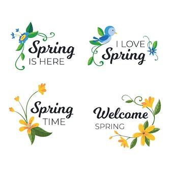 Tema de colección de etiquetas de primavera