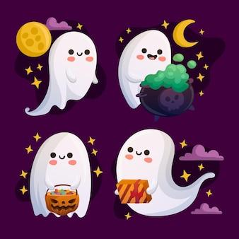 Tema de colección de fantasmas de halloween