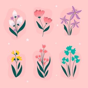 Tema de colección de flores de primavera dibujado a mano