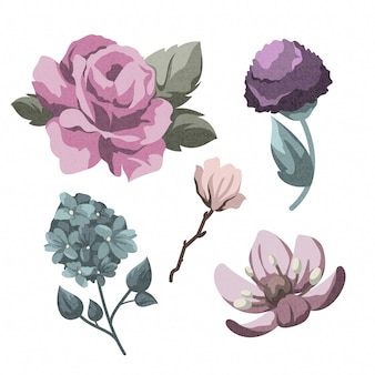 Tema de colección de flores de primavera vintage