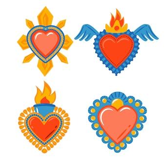 Tema de colección de ilustración de corazón sagrado