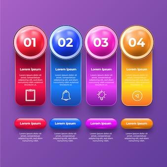 Tema de colección de infografía brillante 3d