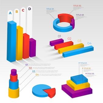 Tema de colección de infografía isométrica
