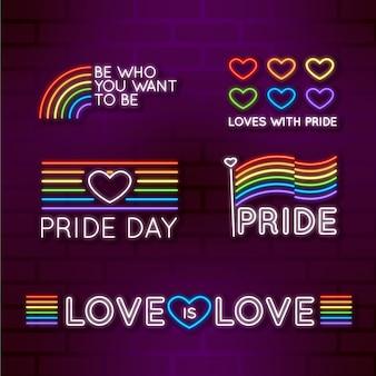 Tema de la colección de letreros de neón del día del orgullo