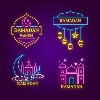 Tema de colección de letreros de neón de ramadán