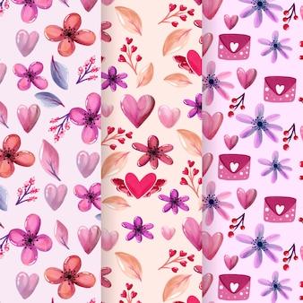 Tema de colección de patrones de acuarela del día de san valentín