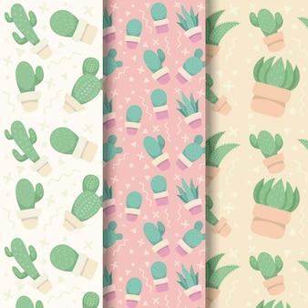 Tema de colección de patrones de cactus
