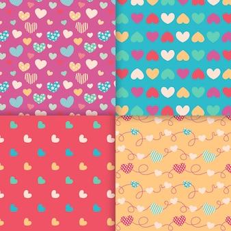 Tema de colección de patrones de corazón