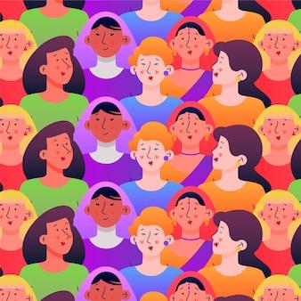 Tema de colección de patrones del día de las mujeres con caras