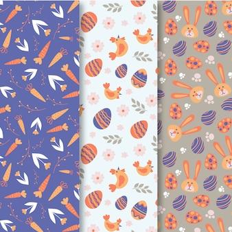 Tema de colección de patrones del día de pascua