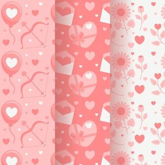 Tema de colección de patrones de día de san valentín de diseño plano