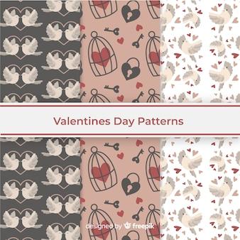 Tema de colección de patrones del día de san valentín