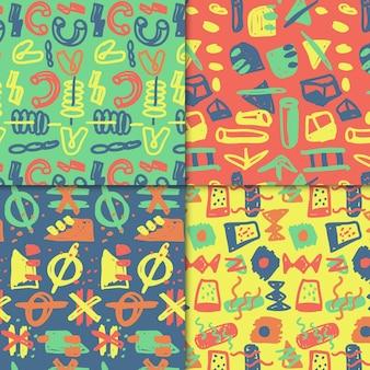Tema de colección de patrones dibujados abstractos