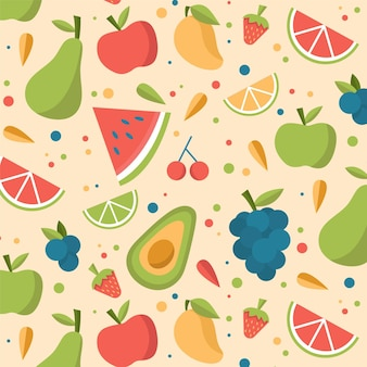 Tema de colección de patrones de frutas