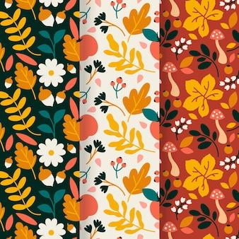 Tema de colección de patrones de otoño