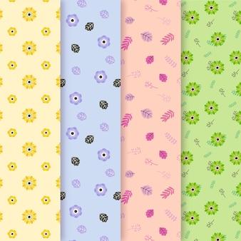 Tema de colección de patrones de primavera de diseño plano