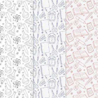 Tema de colección de patrones de regreso a la escuela