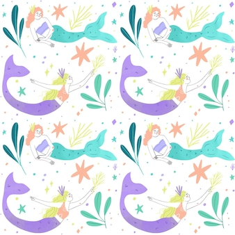 Tema de colección de patrones de sirena