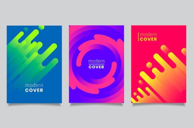 Tema de colección de portadas de formas gradientes