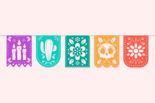 Tema colorido de la colección del empavesado mexicano