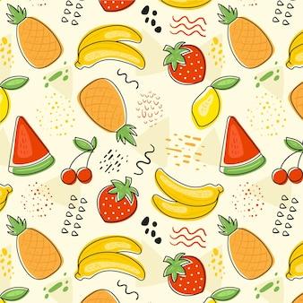 Tema colorido conjunto de patrón de frutas