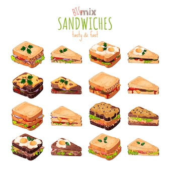 Tema de comida rápida: gran conjunto de diferentes tipos de sándwiches.