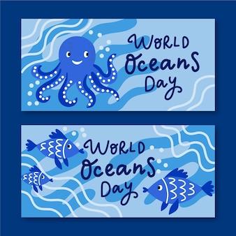 Tema del conjunto de banner del día mundial de los océanos