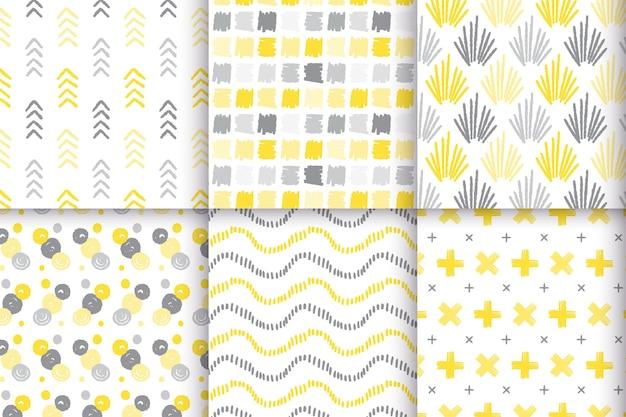 Tema de conjunto de patrón dibujado a mano amarillo y gris