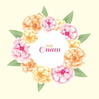 Tema de decoración floral onam acuarela