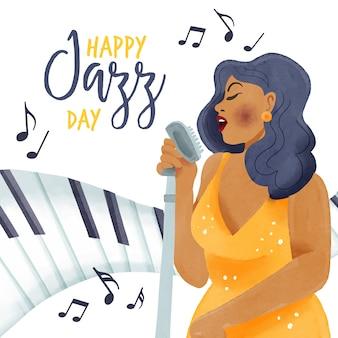 Tema del día internacional del jazz en acuarela