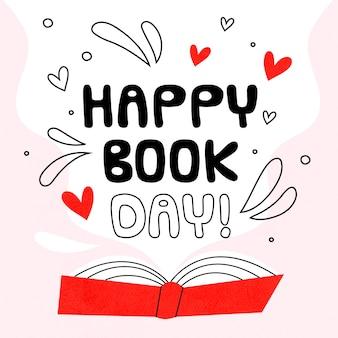 Tema del día mundial del libro dibujado a mano