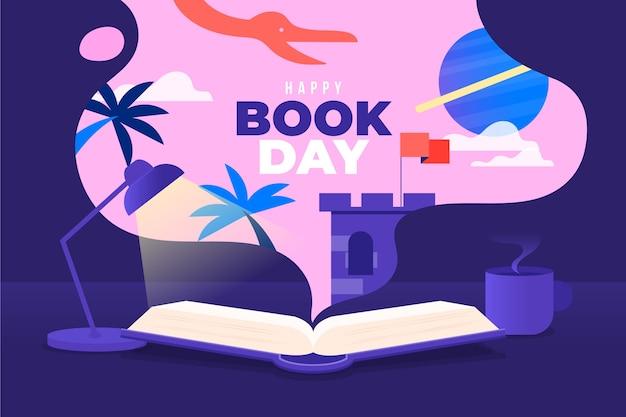 Tema del día mundial del libro de diseño plano