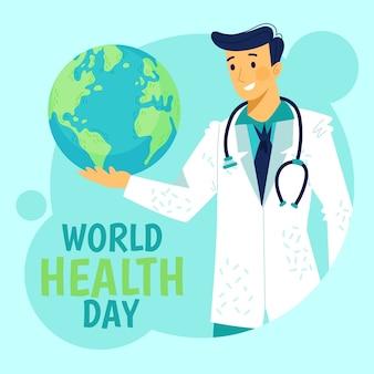 Tema del día mundial de salud dibujado a mano