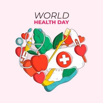 Tema del día mundial de la salud dibujado a mano