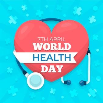 Tema del día mundial de la salud de diseño plano