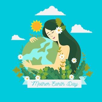 Tema de diseño plano del día de la madre tierra