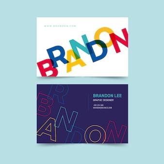 Tema divertido de la tarjeta de visita del diseñador gráfico