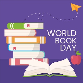 Tema educativo del día mundial del libro de diseño plano