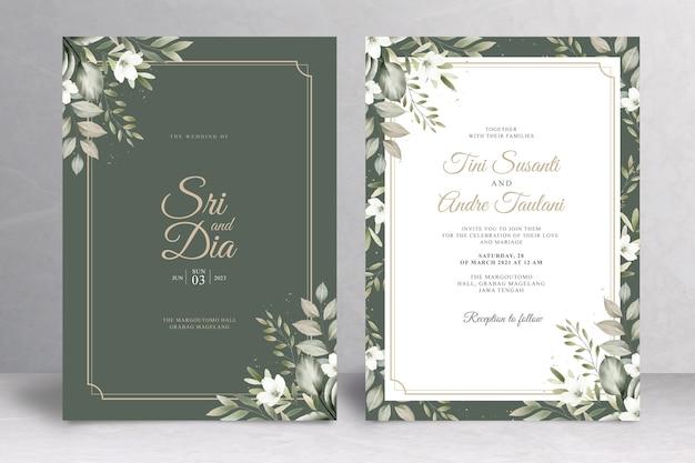 Tema elegante de invitación de boda verde