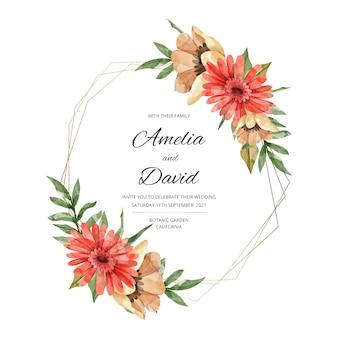 Tema elegante del marco floral de la boda
