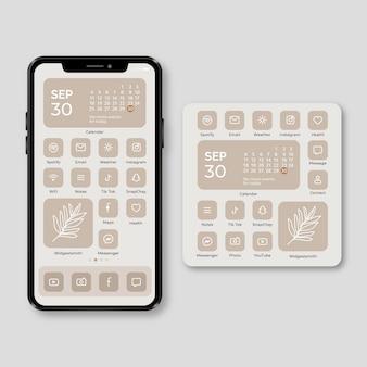 Tema elegante de la pantalla de inicio para teléfonos inteligentes